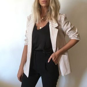 {Vintage} textured striped open blazer